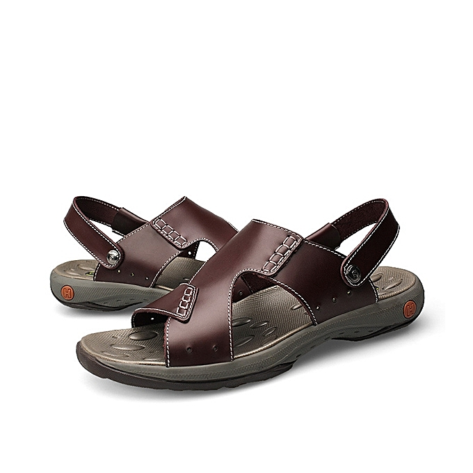 2bc79535e7dab ... Men Comfy Sole Casual Genuine Leather Sandals Two Way Wear Summer Shoes  ...