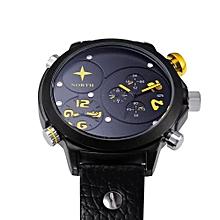 Blicool Wrist Watch Men Leather Stainless Steel Sport Analog Quartz Wrist Watch Waterproof Yellow-Yellow