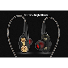 Dual Dynamic Driver Unit HiFi Wired Earphone Quad-core Speaker 3.5mm In-ear Stereo Bass Sport Running Headset Flexible Cable with Microphone Built-in PRI-P