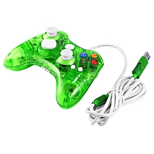 USB Wired Game Controller For Xbox 360 Joypad Gamepad Joystick With LED Light -transparent & Green