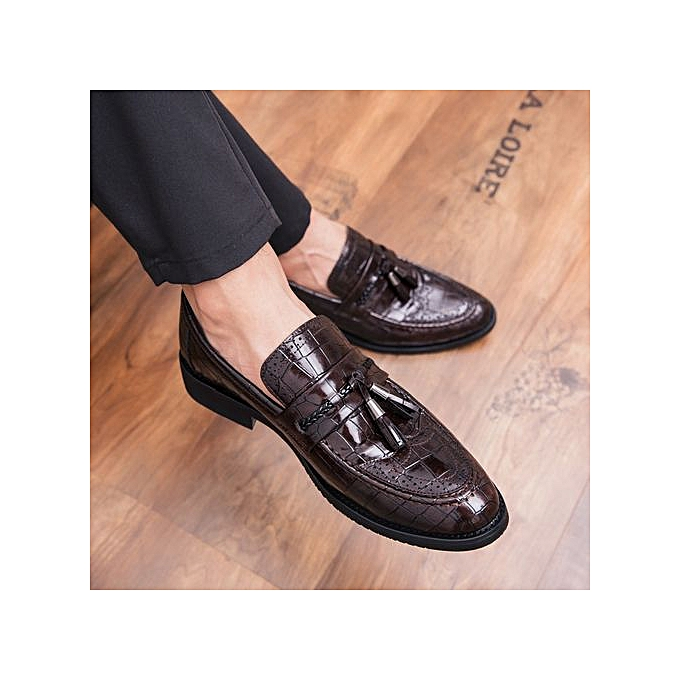 272707689b2d5 Gentleman Leather Shoes Mens Tassel Italian Formal Shoes Luxury Fashion  Elegant Oxford Shoes For Men Dress Party Footwear Brown