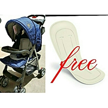 Baby Stroller/ Foldable Pram Portable Baby Stroller With Universal Casters- Blue with a free Stroller Liner