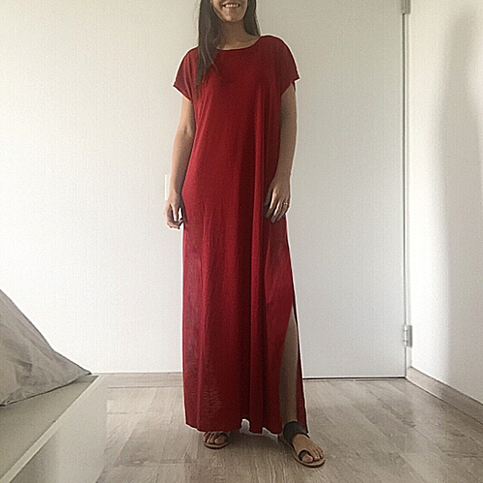 60302c13b038 New Fashion Women Casual Long Dress Solid Split Short Sleeve Loose Slit  Maxi Tee Dress Burgundy