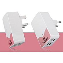 Earldom 5V 4.4A 3 USB Smart Charger Desktop Wall Power Cargador Adapter For IPhone IPad Tablets Samsung Galaxy Android(Pink)