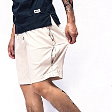 Mens Summer Breathable Linen Cotton Shorts Pants China Wind Leisure Pure Color Knee-Length Shorts