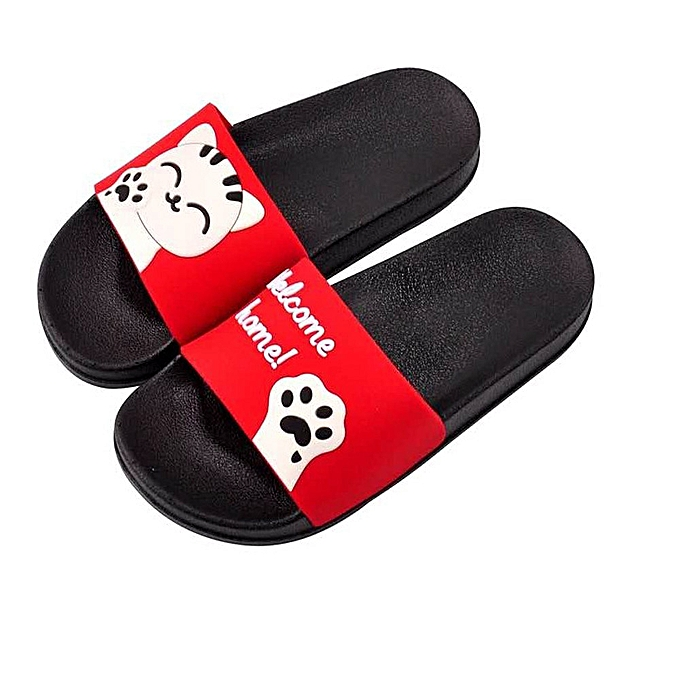 c464de11bc89 birthpar store Unisex Men Women Home Slippers Panda Slippers Beach Shoes  Sandals Flip Flops-Red