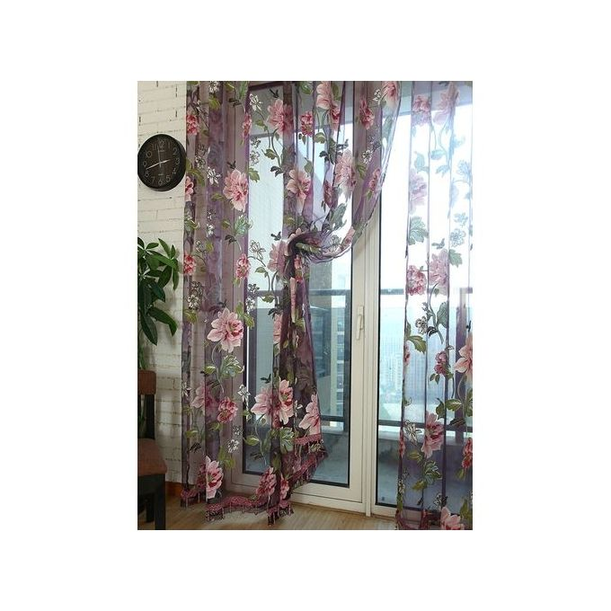 Sunweb tulle shielding floral curtains window screen for Home decorations on jumia