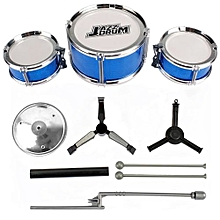 UJ 3-Piece Kids Drum Set Children Junior Drums Kit Percussion Musical Instrument-blue