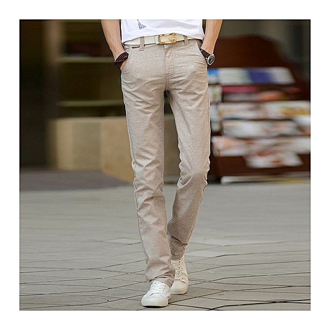 a9c1b9525027 Men s Flax Leisure Pants Spring Summer Pure Color Breathable Soft Linen  Cotton Trousers