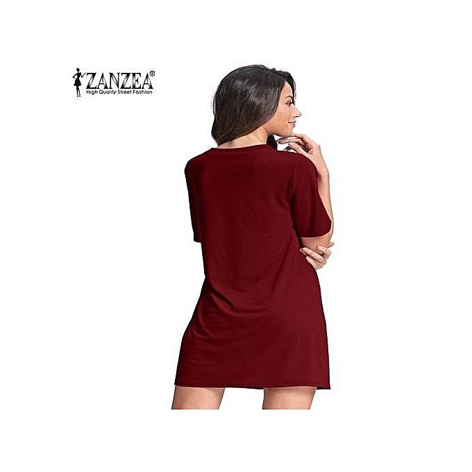 18b9da90d54 ZANZEA ZANZEA Women Short Sleeve Deep V Plunge Low Cut Cluwear Long Shirt  Mini Dress (Wine Red)