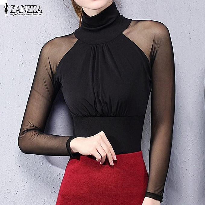 db56cdbaa28a5 ZANZEA ZANZEA Mesh Stretchy Tops Women Sexy See Through Sheer Sleeve Shirt  Casual Long Sleeve Slim Patchwork Blouses Blusas Plus Size (Black)