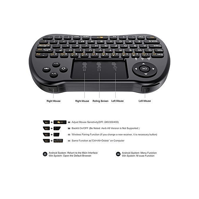 Wireless Keyboard For Smart TV & Android Box - Black