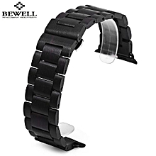 ZS - B01 24MM Wooden Watch Band Butterfly Clasp Wristband-Jet Black-Jet Black