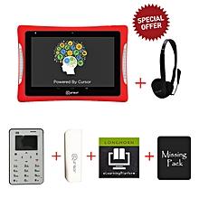 8'' Educational Tablet + Cursor Mini Mobile Phone + Powerbank + Head Phone + Free Lomghorn E- learning platform & Msingi Pack