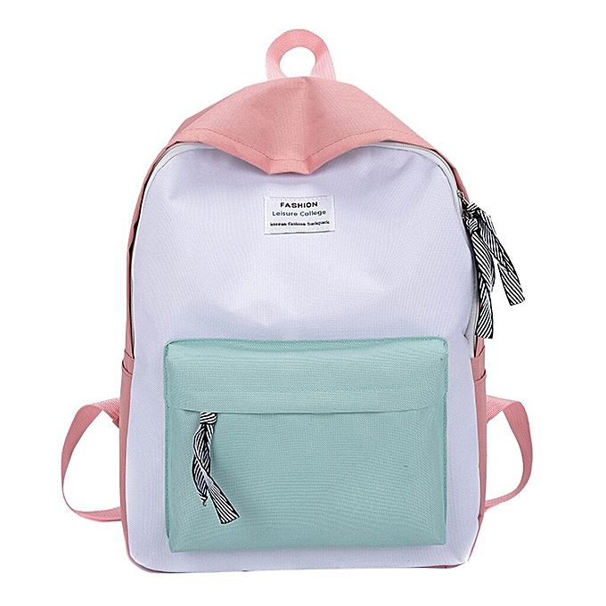6e5d7803a61f fashion backpack woman backpack Schoolbag Travel Hiking Bag Color Block  Backpack Collection Bag mochila #BA30(Pink)