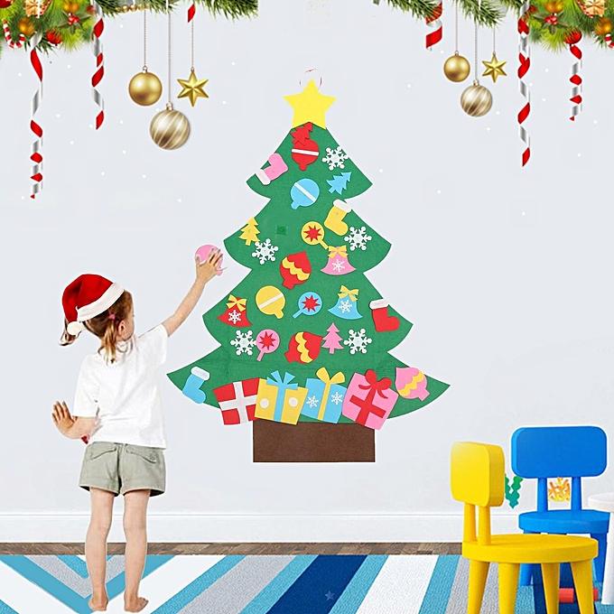 Generic Kids Diy Felt Christmas Tree Set With Ornaments Door Wall
