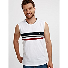 White Fashionable Standard Sleeveless Jersey Tank Top
