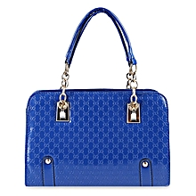 Ladies Plaid Rivet Tote Shoulder Bag - Blue