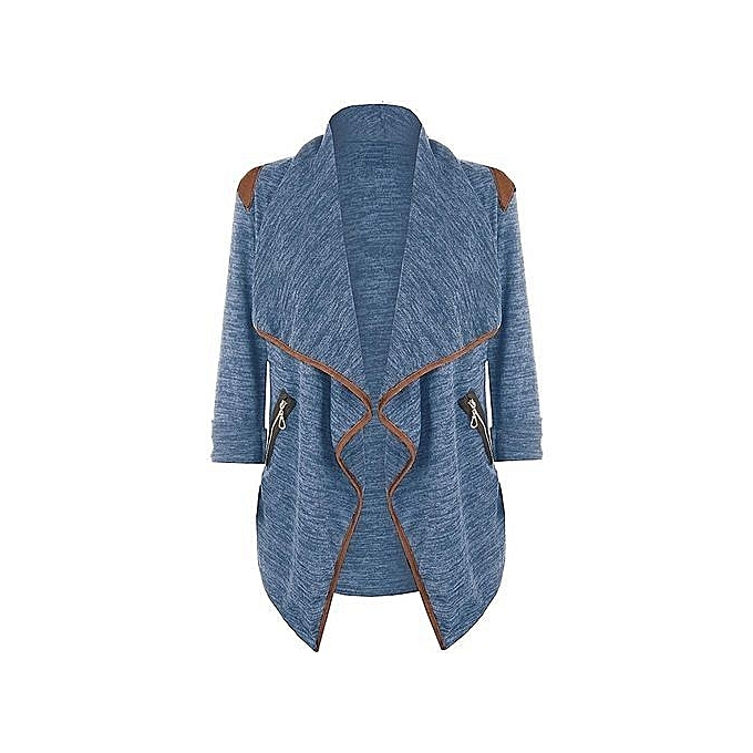 Autumn Winter Women Solid Loose Jacket Cardigan Lapel Long Sleeve Pockets  Irregular Long Coat Plus Size 854499105