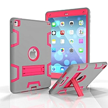 For Ipad 5 Case, Armor-Box Three Layer Heavy Duty Rugged Hybrid Protective With KickStand Case For IPad Air 1(Grey/Rose)