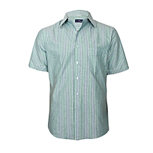 Green With Blue & White Stripes Short Sleeved Shirt