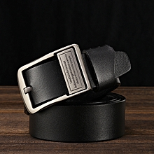 Men's leather belt men's belt fashion casual leather jeans with pure leather belt-120CM-black