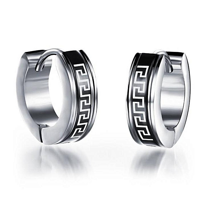 Hoop Earrings Black For Men Stainless Steel Earring Jewelry Great Wall