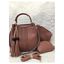 3 In 1Tassel Panelled Shoulder Handbag - Brown