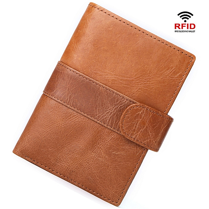 6811e43796e3 Fashion Wallet for Men Cow Leather RFID Blocking Wallet - Brown ...