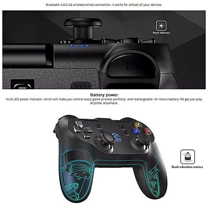 HonTai GameSir T1s Enhanced Edition Wireless/Wired Gamepad Game Controller  2 4GHz Bluetooth 4 0 for iOS/Android/PC/PS3-Black