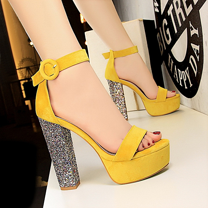 c17a7df66a2 Women Fashion Shoes Sequins With Super High Heel Waterproof Platform Suede  Sexy Nightclub Word With Sandals ...