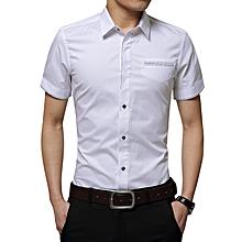Fashion Men's Slim Short Sleeve Shirt Business Formal Casual Pure Top T Shirts-White