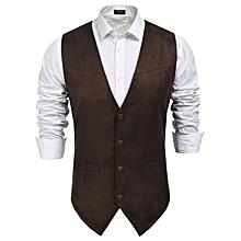 Men Faux Suede Waistcoat Single-Breasted Vest
