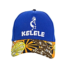 Royal Blue And Orange Baseball / Sports Hat With Kelele Color On Brim