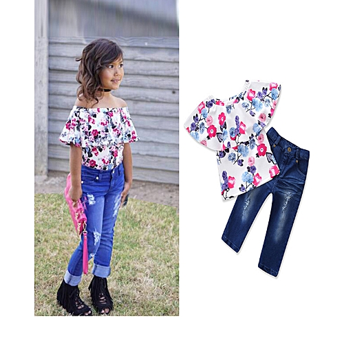 1793a7e953ae4b Fashion Baby Girl's Clothing Set Off Shoulder Tops + Long Jeans Pants