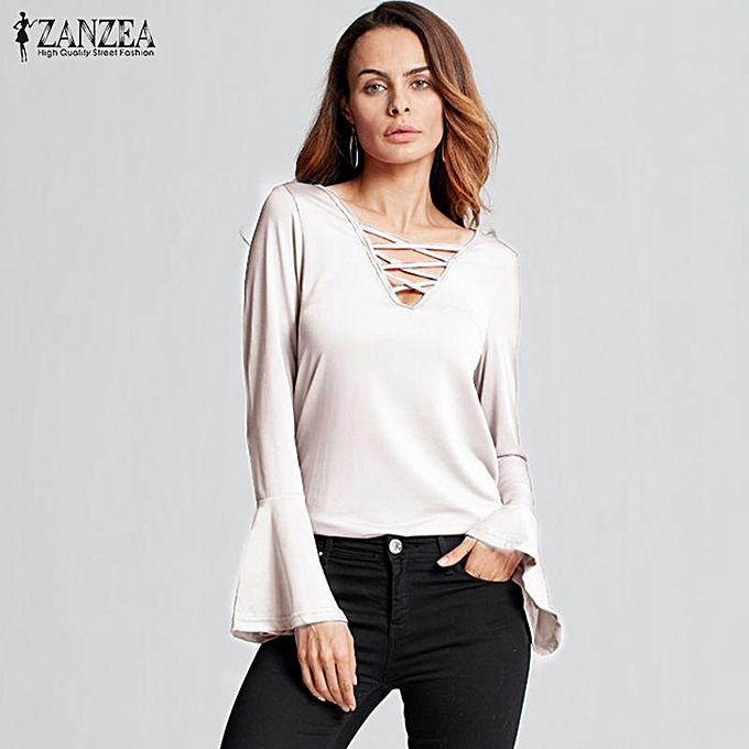 751860800a7 ZANZEA ZANZEA New Arrival Tops Tees Autumn Women Blouses Sexy V-Neck Hollow  Out Casual Blusas Flounce Long Sleeve Shirts Plus Size (White)