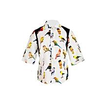 White bird print shirt
