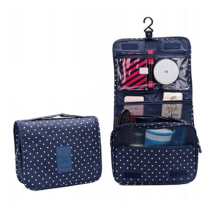 14a2204cee61 Fashion Travel Cosmetic Bag Organizer Toiletry Bag Men Waterproof Portable  Pouch Cosmetic Cases Women Hanging Wash Bags Neceser(Dark blue)