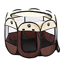 Foldable Portable Pet Playpen Dog Cat Exercise Pen Kennel Oxford Cloth 8 Sided Cage Color:Coffee Specification:S