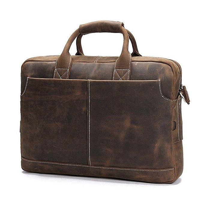 3aea484716e9 Fashion BLUESEBE Men Handmade Dark Brown Vintage Leather Briefcase Messenger  Bag 8012