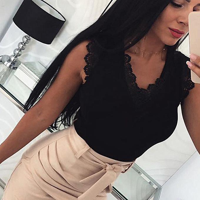 59d739b5315cd jiahsyc store Womens Summer Sexy Casual V-Neck Sleeveless Lace Design Tank  Top Blouse-Black