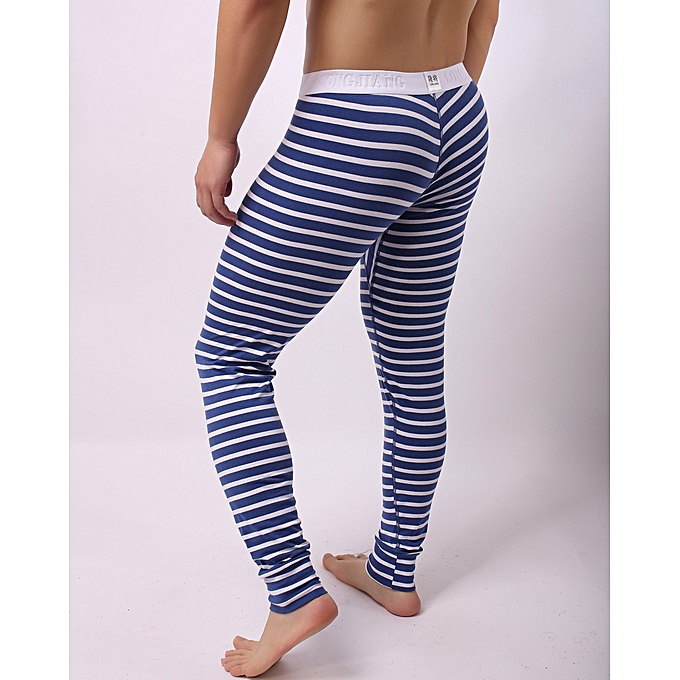 e9587147aa Fashion Mens Striped Breathe Patchwork Low Rise Leggings Long Johns Thermal  Pant Menstye