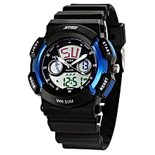 Unisex Black PU Strap Watch (Blue)