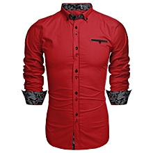 Men Long Sleeve Turn Down Neck Front Pocket Loose Tops Casual Dress Cotton Button Down Shirts-Red