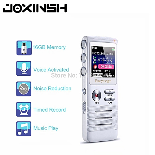 8GB Digital Voice Recorder with Double Microphone HD Recording Premium  Metal Case Mic and Dictaphone USB MP3 Free Headphones SANNI