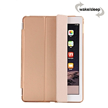 Smart Luxury PU Leather Ultra Slim Smart Magnetic Wake/Sleep Flip Pad Cover + Translucent Protect Case for Apple iPad Air 2 iPad 6 SM0056(Gold) CHD-Z
