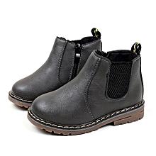 bluerdream-Children Fashion Boys Girls Martin Sneaker Boots Kids Baby Casual Shoes- Gray