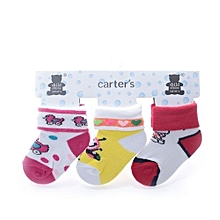 3 Pairs Soft Cotton Baby Kids  Cute  Socks-Multicolor