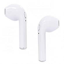 i7 Twin Bluetooth Wireless Music Airpods Stereo Earphone with Mic - White