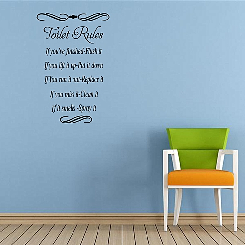 """Generic 16.7"""" x 11.2"""" Toilet Rules Quote Wall Stickers Vinyl Decal Removable Home Decor"""
